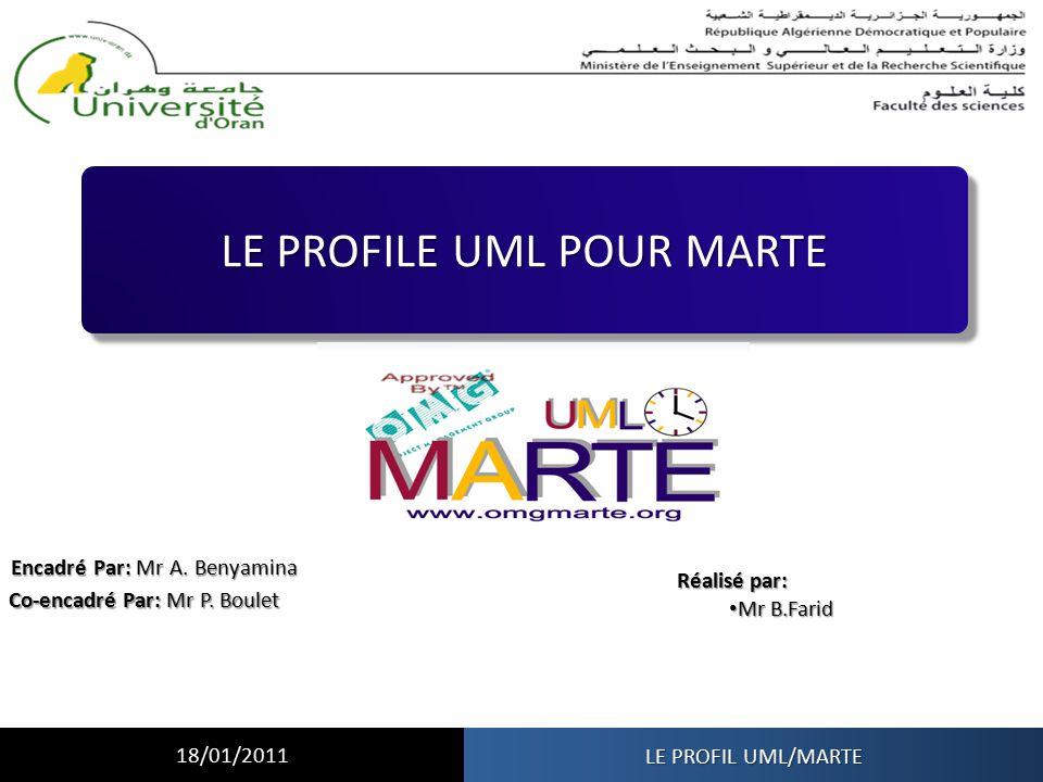 LE PROFILE UML POUR MARTE Encadré Par: Mr A. Benyamina Co-encadré Par: Mr P. Boulet Réalisé par: Mr B.Farid Mr B.Farid LE PROFIL UML/MARTE 18/01/2011