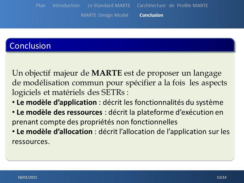 Conclusion 18/01/2011 13/14 Un objectif majeur de MARTE est de proposer un langage de modélisation commun pour spécifier a la fois les aspects logicie