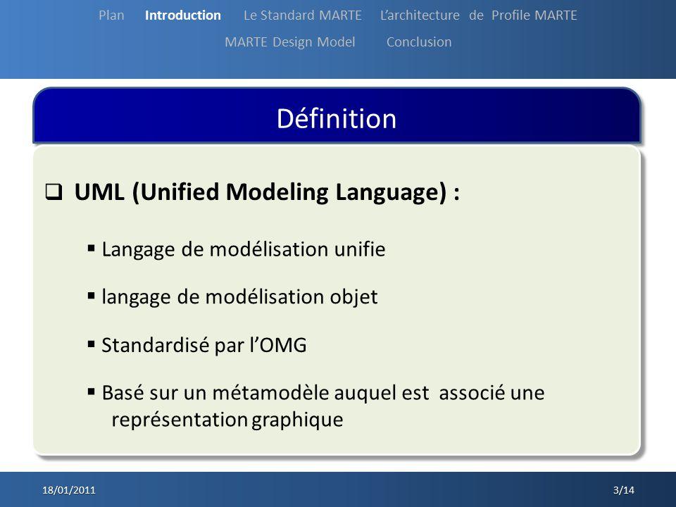 Définition 18/01/2011 3/14 UML (Unified Modeling Language) : Plan Introduction Le Standard MARTE Larchitecture de Profile MARTE MARTE Design Model Con