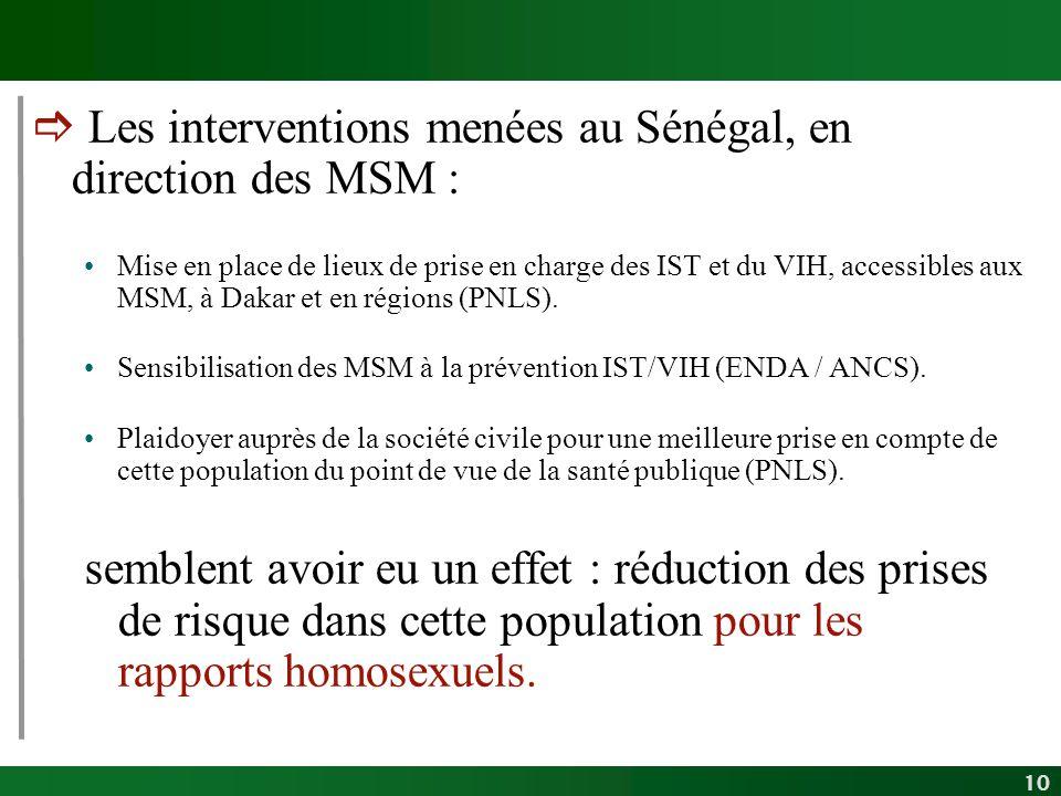 10 Les interventions menées au Sénégal, en direction des MSM : Mise en place de lieux de prise en charge des IST et du VIH, accessibles aux MSM, à Dak