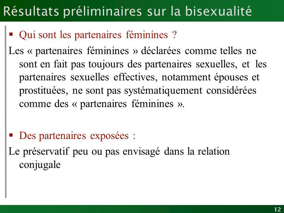 12 Résultats préliminaires sur la bisexualité Qui sont les partenaires féminines ? Les « partenaires féminines » déclarées comme telles ne sont en fai