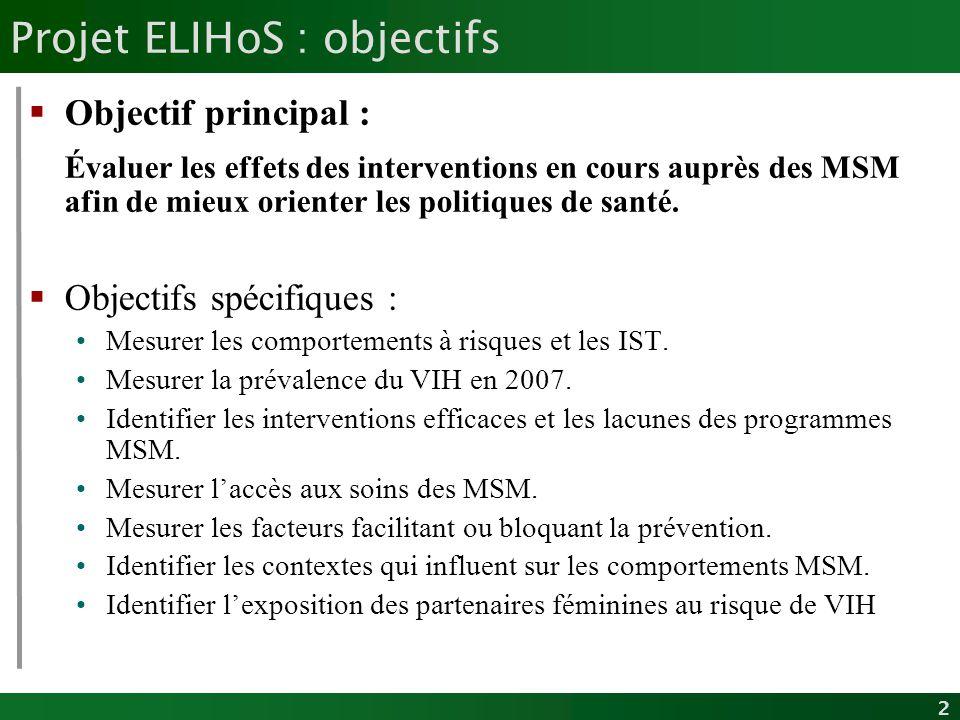 2 Projet ELIHoS : objectifs Objectif principal : Évaluer les effets des interventions en cours auprès des MSM afin de mieux orienter les politiques de