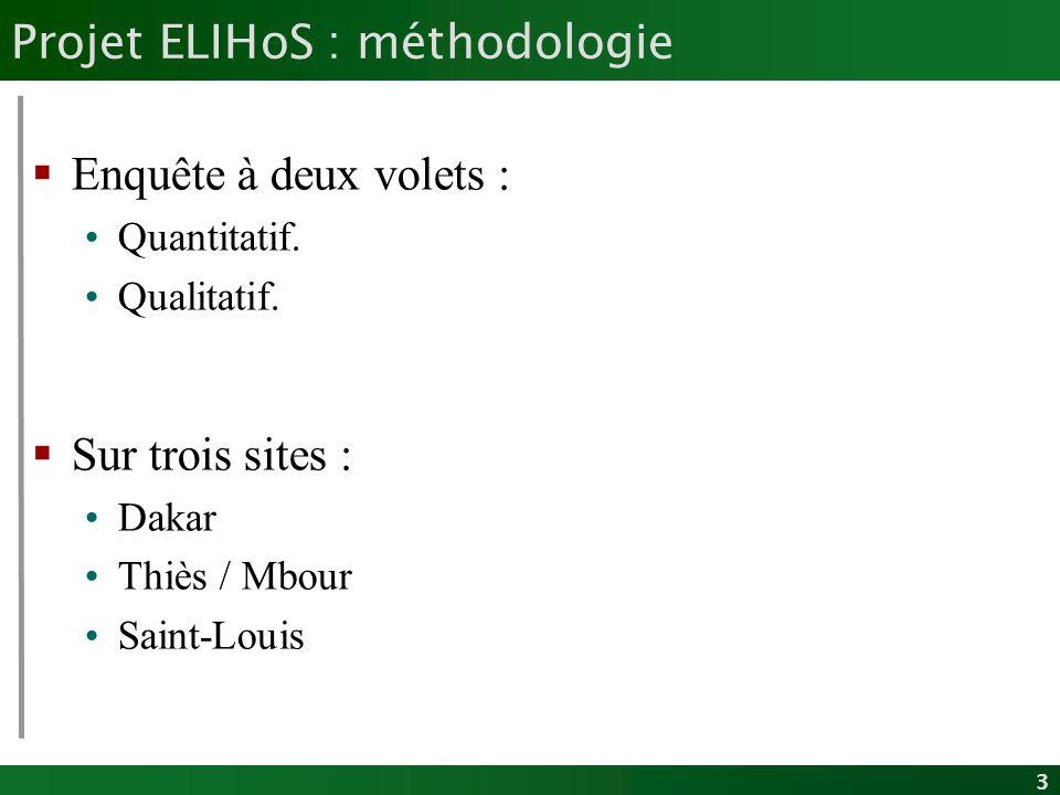 3 Projet ELIHoS : méthodologie Enquête à deux volets : Quantitatif. Qualitatif. Sur trois sites : Dakar Thiès / Mbour Saint-Louis