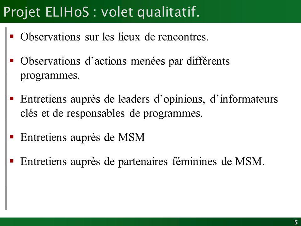 5 Projet ELIHoS : volet qualitatif. Observations sur les lieux de rencontres. Observations dactions menées par différents programmes. Entretiens auprè
