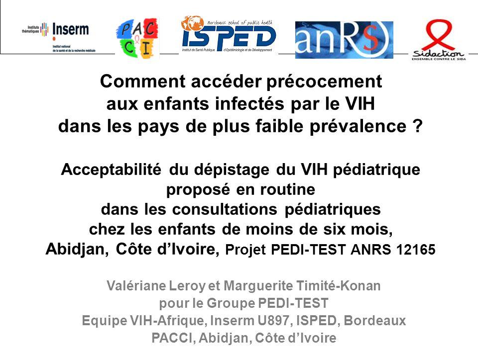 Etude PEDI-TEST ANRS 12165, Abidjan12 Résultats : population Population éligible du 1/5/2008 au 1/11/2008 - Proposition de dépistage VIH : N=3013 enfants nés de 2986 mères : 79% déjà testées, 63% informées Acceptabilité du dépistage VIH des parents –1817 (61%) mères ont accepté leur dépistage du VIH 81 infectées par le VIH : prévalence : 4,5%, IC 95%: 3,5%-5,4% –Seuls 46 pères (1,5%) ont eu un contact avec le projet 35 (76%) ont accepté de faire leur test de dépistage VIH 2 infectés par le VIH Prévalence de linfection chez lenfant 5 enfants infectés par le VIH parmi les 42 exposés testés Prévalence : 11,9%, IC 95%: 2,1%-21,7% Identification de 1% des enfants effectivement testés 12