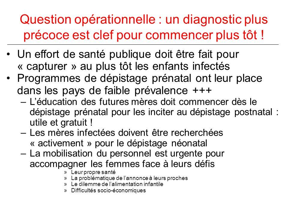 Question opérationnelle : un diagnostic plus précoce est clef pour commencer plus tôt .