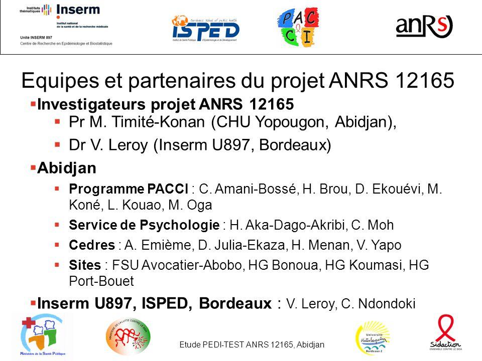 Etude PEDI-TEST ANRS 12165, Abidjan24 Equipes et partenaires du projet ANRS 12165 Investigateurs projet ANRS 12165 Pr M.