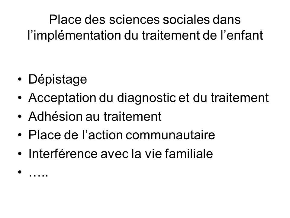 Place des sciences sociales dans limplémentation du traitement de lenfant Dépistage Acceptation du diagnostic et du traitement Adhésion au traitement
