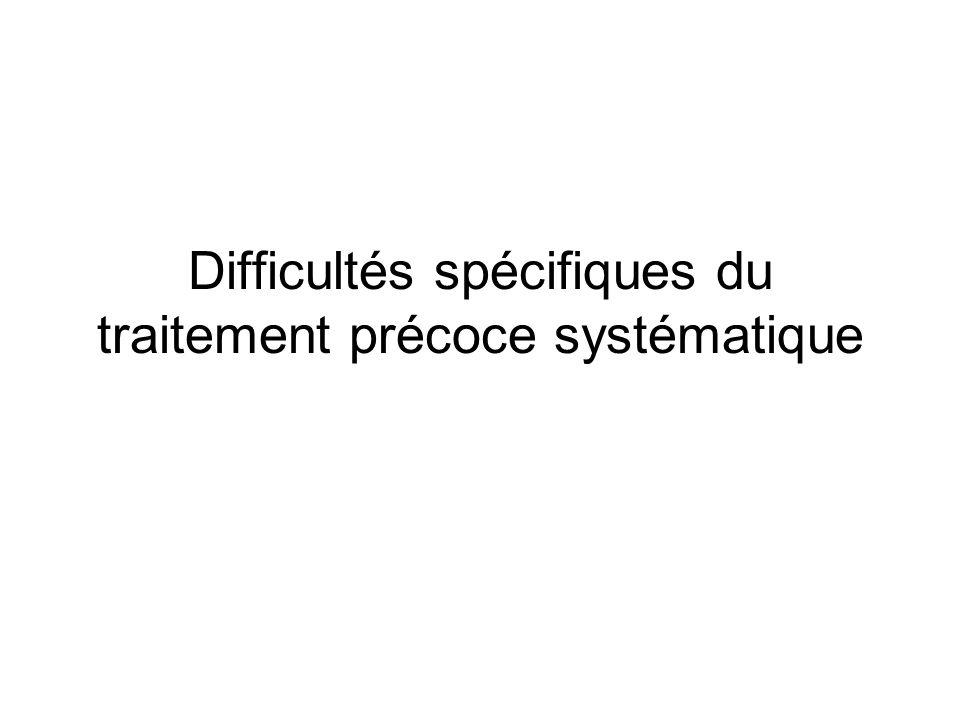 Difficultés spécifiques du traitement précoce systématique