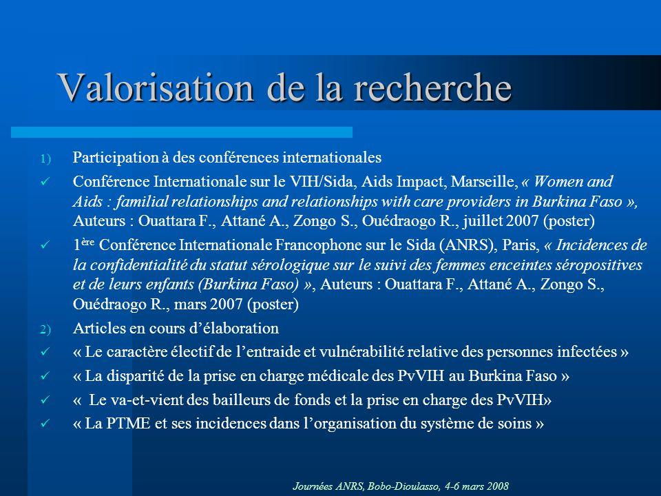 Journées ANRS, Bobo-Dioulasso, 4-6 mars 2008 Valorisation de la recherche 1) Participation à des conférences internationales Conférence Internationale