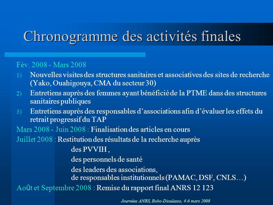 Journées ANRS, Bobo-Dioulasso, 4-6 mars 2008 Chronogramme des activités finales Fév. 2008 - Mars 2008 1) Nouvelles visites des structures sanitaires e