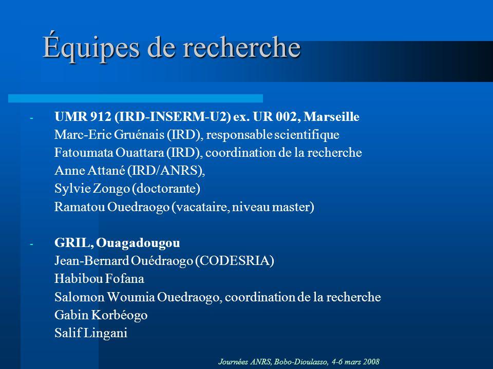 Journées ANRS, Bobo-Dioulasso, 4-6 mars 2008 Équipes de recherche - UMR 912 (IRD-INSERM-U2) ex. UR 002, Marseille Marc-Eric Gruénais (IRD), responsabl