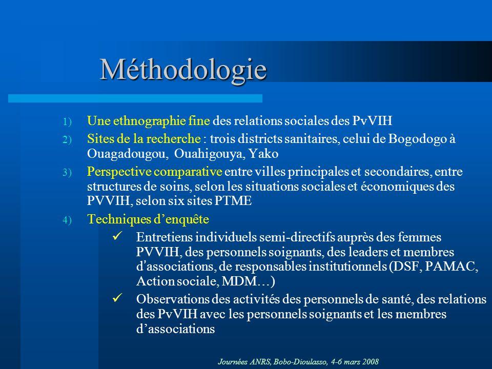 Journées ANRS, Bobo-Dioulasso, 4-6 mars 2008 Méthodologie 1) Une ethnographie fine des relations sociales des PvVIH 2) Sites de la recherche : trois d