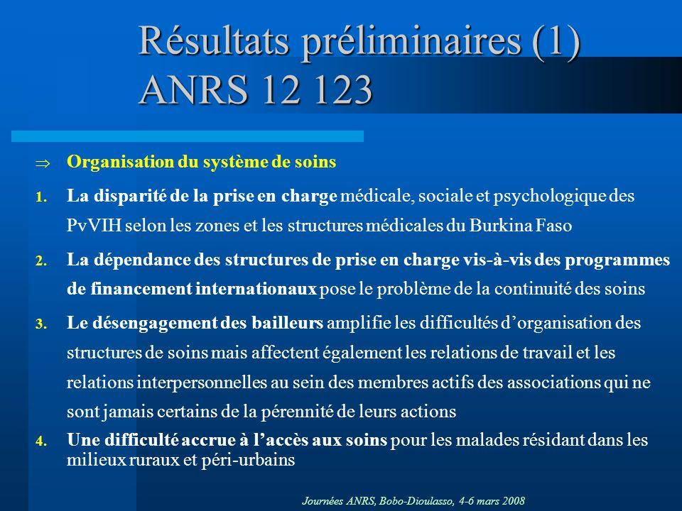 Journées ANRS, Bobo-Dioulasso, 4-6 mars 2008 Résultats préliminaires (1) ANRS 12 123 Organisation du système de soins 1. La disparité de la prise en c