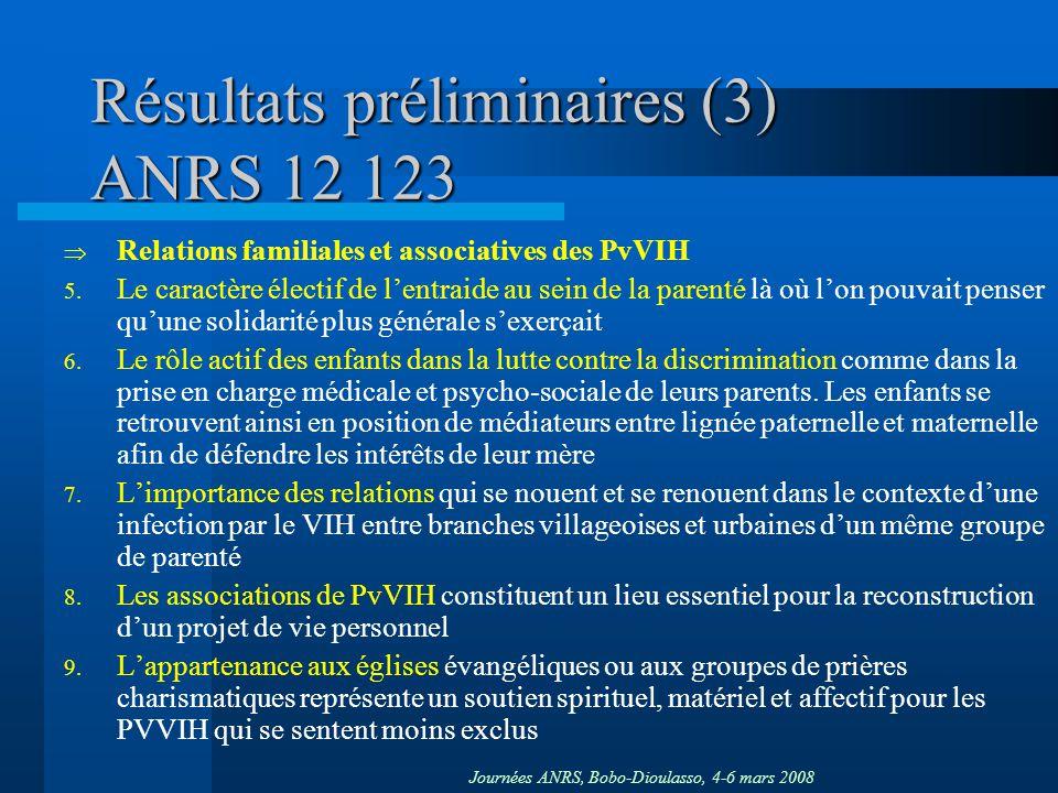 Journées ANRS, Bobo-Dioulasso, 4-6 mars 2008 Résultats préliminaires (3) ANRS 12 123 Relations familiales et associatives des PvVIH 5. Le caractère él