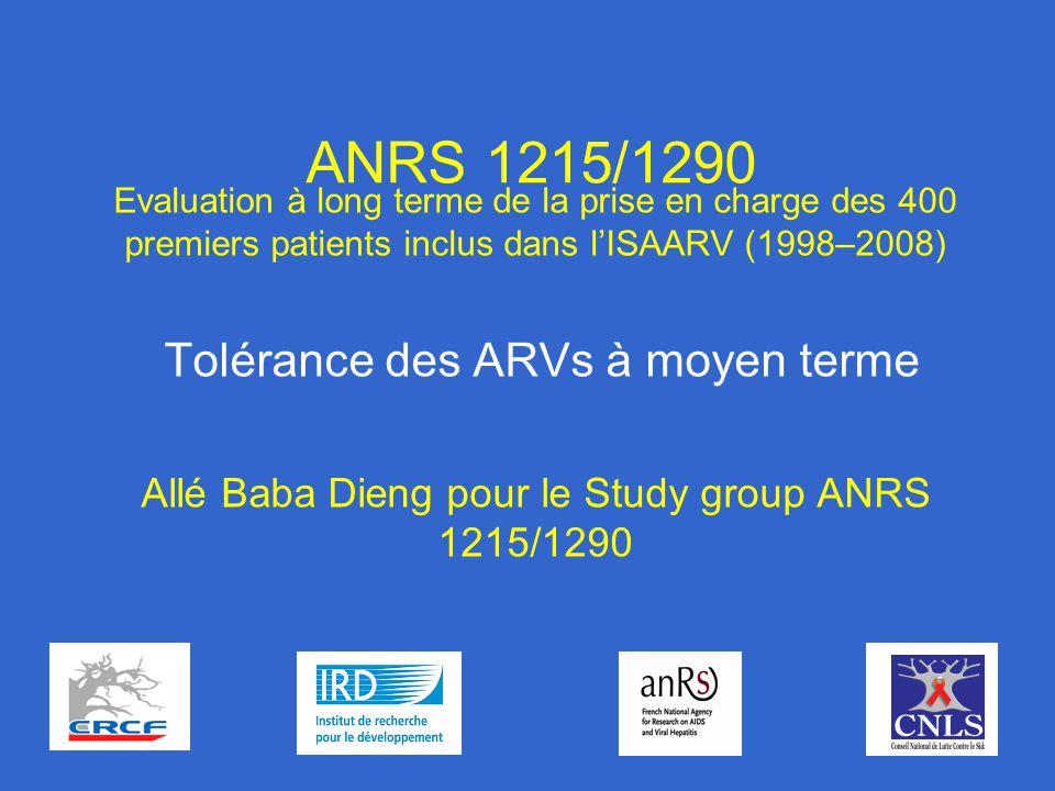 ANRS 1215/1290 Evaluation à long terme de la prise en charge des 400 premiers patients inclus dans lISAARV (1998–2008) Tolérance des ARVs à moyen terme Allé Baba Dieng pour le Study group ANRS 1215/1290