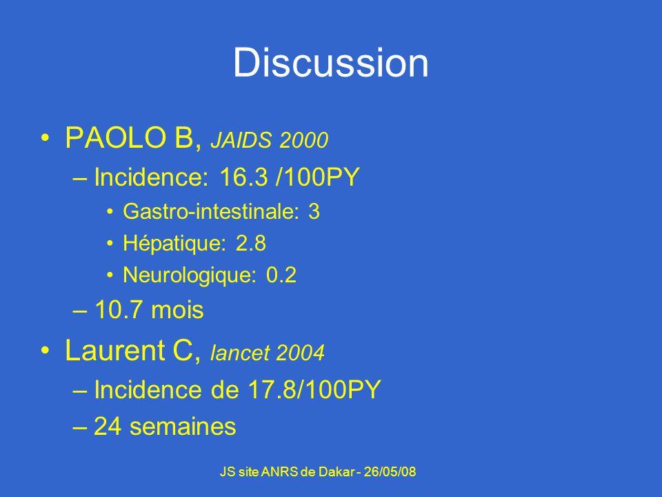 Discussion PAOLO B, JAIDS 2000 –Incidence: 16.3 /100PY Gastro-intestinale: 3 Hépatique: 2.8 Neurologique: 0.2 –10.7 mois Laurent C, lancet 2004 –Incid