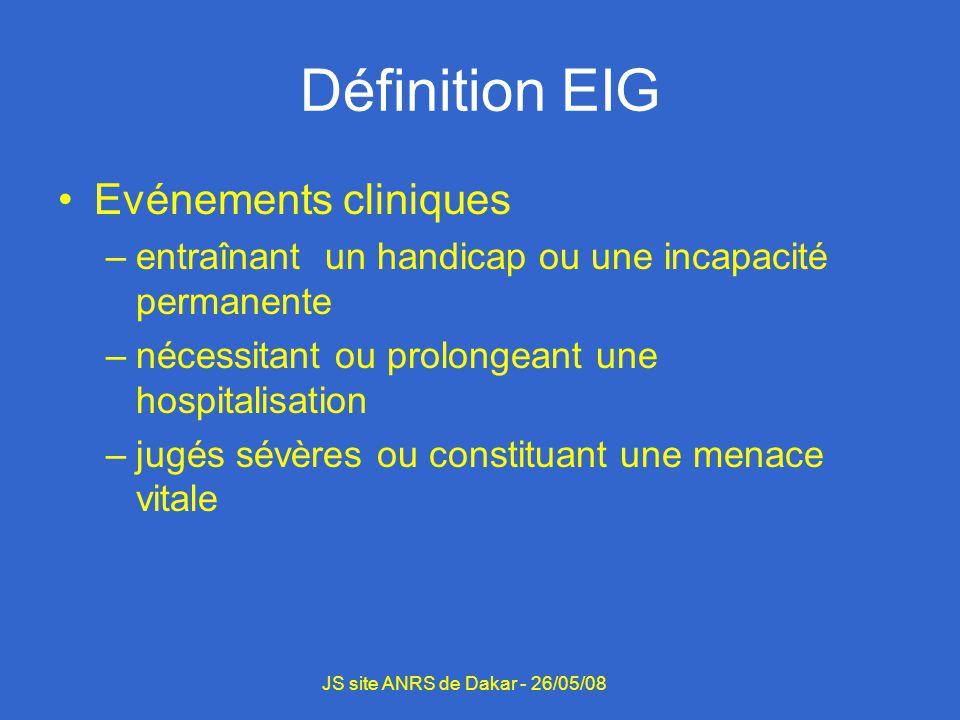 Définition EIG Evénements cliniques –entraînant un handicap ou une incapacité permanente –nécessitant ou prolongeant une hospitalisation –jugés sévère
