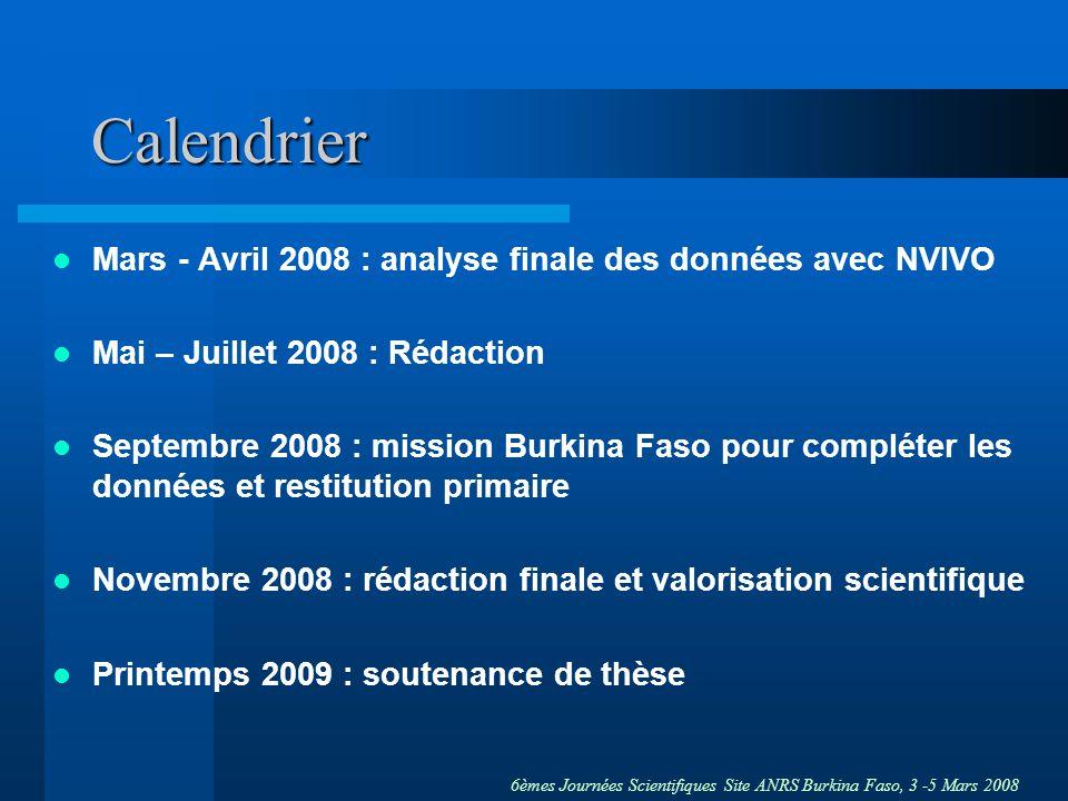 6èmes Journées Scientifiques Site ANRS Burkina Faso, 3 -5 Mars 2008 Calendrier Mars - Avril 2008 : analyse finale des données avec NVIVO Mai – Juillet