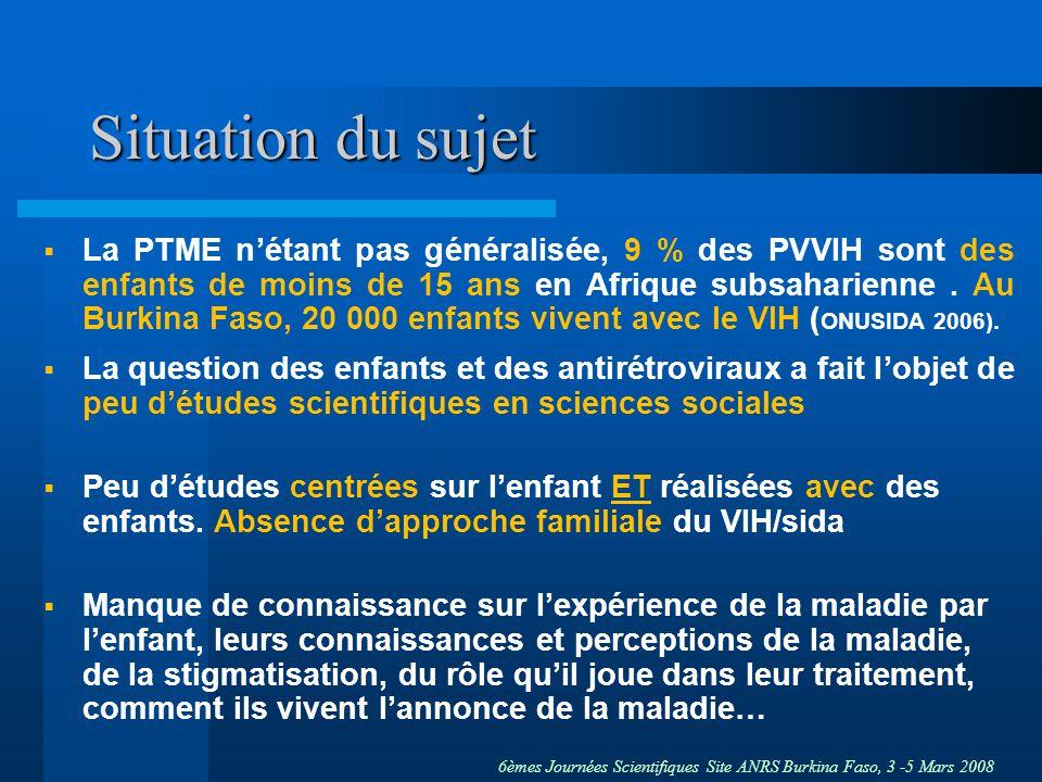 6èmes Journées Scientifiques Site ANRS Burkina Faso, 3 -5 Mars 2008 Situation du sujet La PTME nétant pas généralisée, 9 % des PVVIH sont des enfants de moins de 15 ans en Afrique subsaharienne.