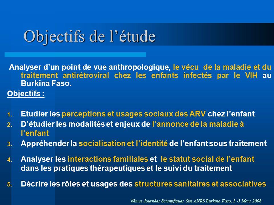 6èmes Journées Scientifiques Site ANRS Burkina Faso, 3 -5 Mars 2008 Objectifs de létude Analyser dun point de vue anthropologique, le vécu de la maladie et du traitement antirétroviral chez les enfants infectés par le VIH au Burkina Faso.
