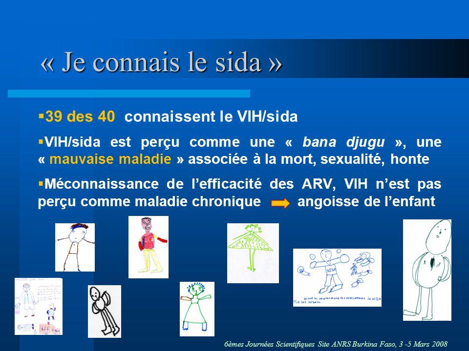 6èmes Journées Scientifiques Site ANRS Burkina Faso, 3 -5 Mars 2008 « Je connais le sida » 39 des 40 connaissent le VIH/sida VIH/sida est perçu comme une « bana djugu », une « mauvaise maladie » associée à la mort, sexualité, honte Méconnaissance de lefficacité des ARV, VIH nest pas perçu comme maladie chronique angoisse de lenfant