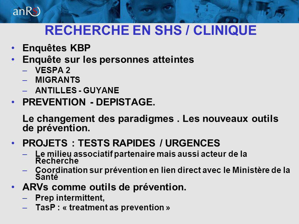 14 RECHERCHE EN SHS / CLINIQUE Enquêtes KBP Enquête sur les personnes atteintes –VESPA 2 –MIGRANTS –ANTILLES - GUYANE PREVENTION - DEPISTAGE.