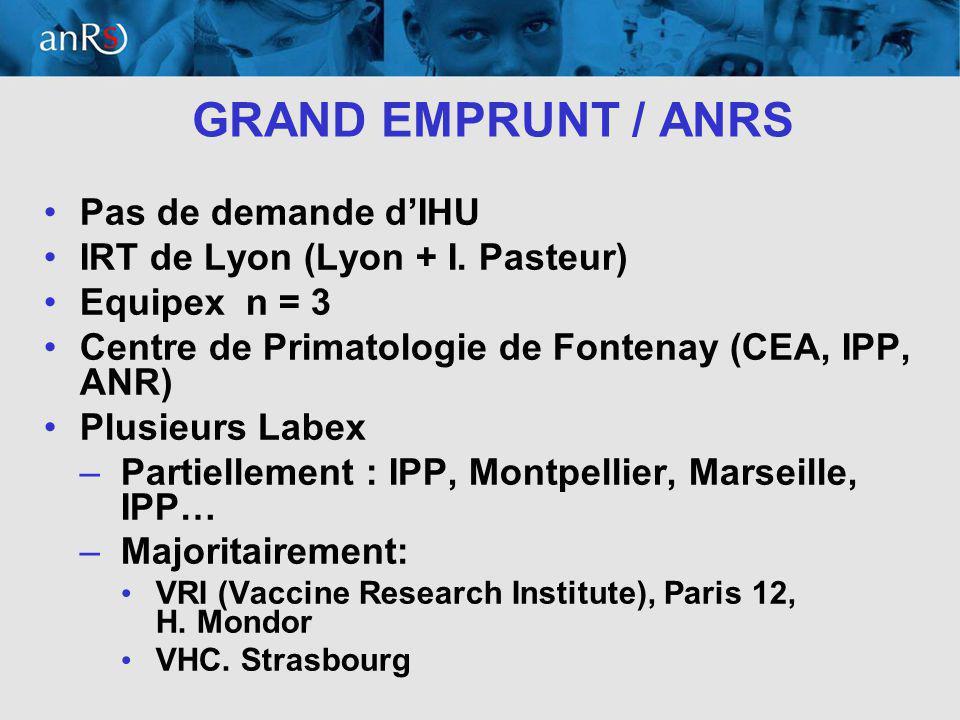 16 GRAND EMPRUNT / ANRS Pas de demande dIHU IRT de Lyon (Lyon + I.