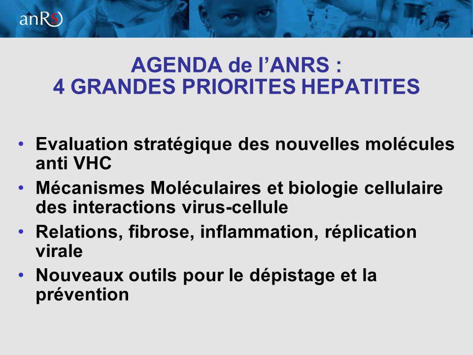 3 AGENDA de lANRS : 4 GRANDES PRIORITES HEPATITES Evaluation stratégique des nouvelles molécules anti VHC Mécanismes Moléculaires et biologie cellulaire des interactions virus-cellule Relations, fibrose, inflammation, réplication virale Nouveaux outils pour le dépistage et la prévention
