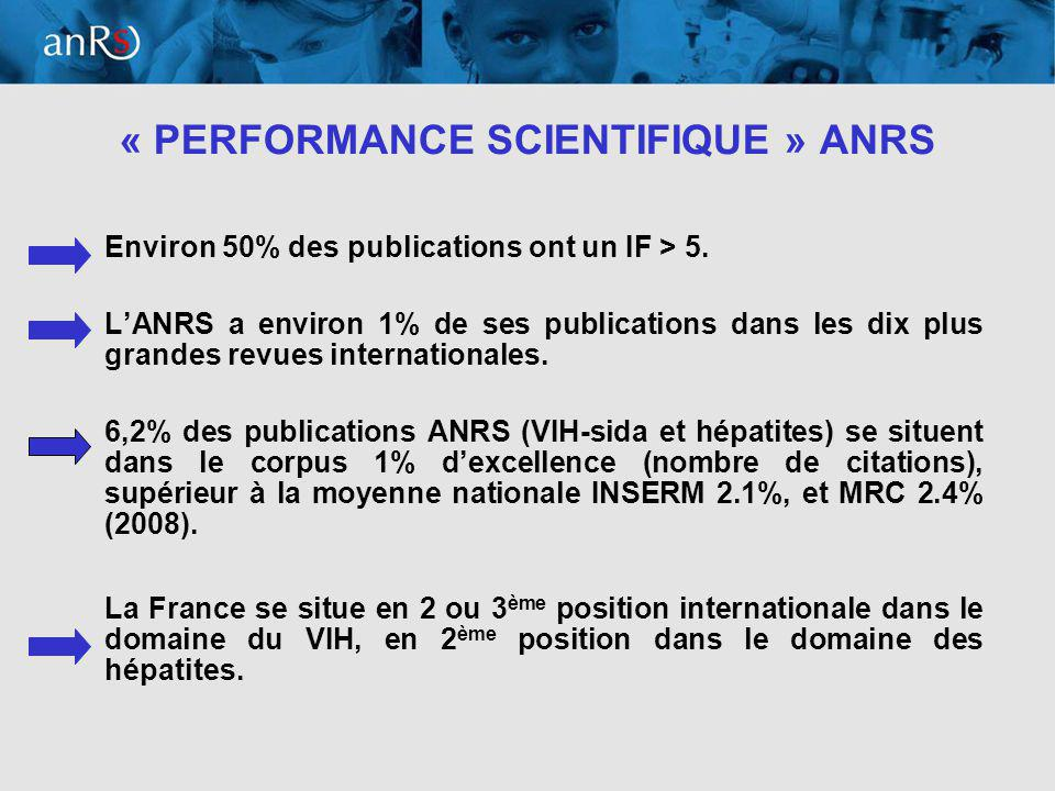 8 « PERFORMANCE SCIENTIFIQUE » ANRS Environ 50% des publications ont un IF > 5.