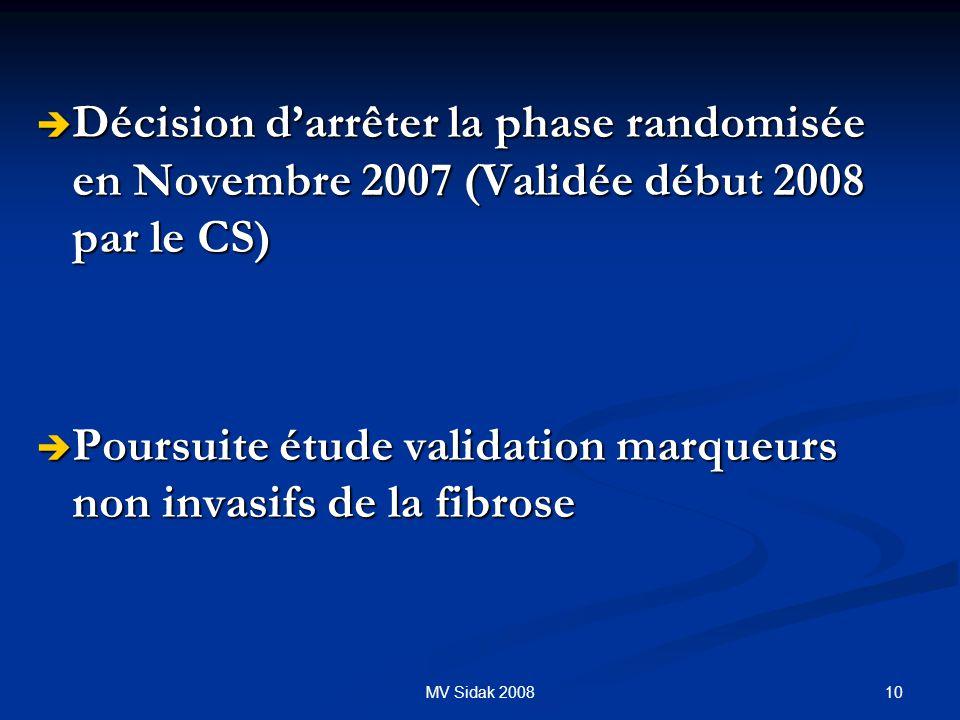10MV Sidak 2008 Décision darrêter la phase randomisée en Novembre 2007 (Validée début 2008 par le CS) Décision darrêter la phase randomisée en Novembr