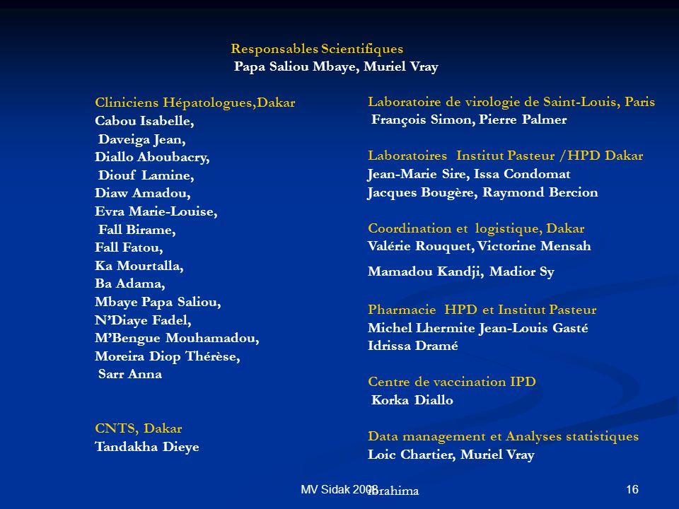 16MV Sidak 2008 Responsables Scientifiques Papa Saliou Mbaye, Muriel Vray Cliniciens Hépatologues,Dakar Cabou Isabelle, Daveiga Jean, Diallo Aboubacry