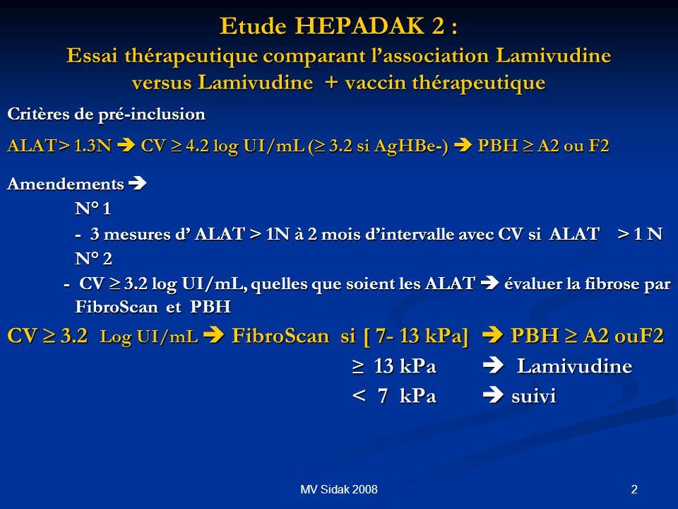 2MV Sidak 2008 Etude HEPADAK 2 : Essai thérapeutique comparant lassociation Lamivudine versus Lamivudine + vaccin thérapeutique Critères de pré-inclus