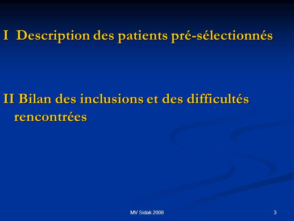3MV Sidak 2008 I Description des patients pré-sélectionnés II Bilan des inclusions et des difficultés rencontrées