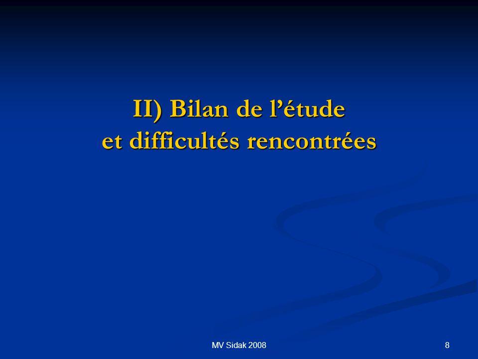 8MV Sidak 2008 II) Bilan de létude et difficultés rencontrées II) Bilan de létude et difficultés rencontrées