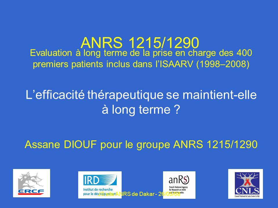 1 ANRS 1215/1290 Evaluation à long terme de la prise en charge des 400 premiers patients inclus dans lISAARV (1998–2008) Lefficacité thérapeutique se