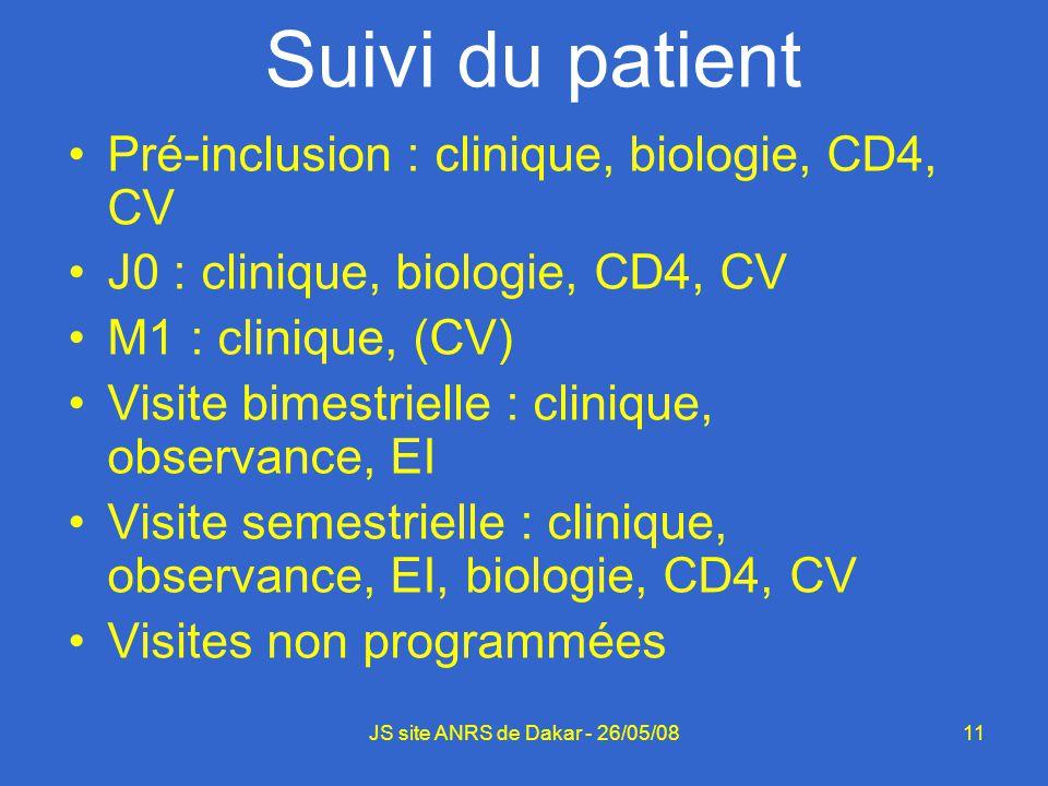 11JS site ANRS de Dakar - 26/05/08 Suivi du patient Pré-inclusion : clinique, biologie, CD4, CV J0 : clinique, biologie, CD4, CV M1 : clinique, (CV) V