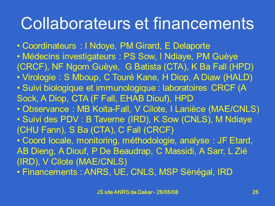 26JS site ANRS de Dakar - 26/05/08 Collaborateurs et financements Coordinateurs : I Ndoye, PM Girard, E Delaporte Médecins investigateurs : PS Sow, I