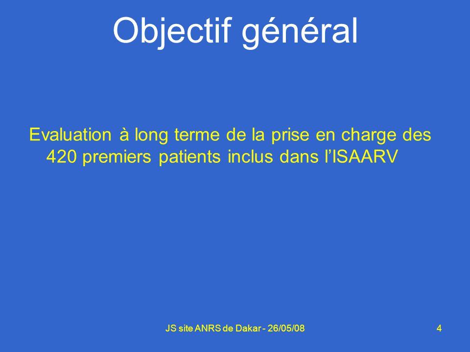 4JS site ANRS de Dakar - 26/05/08 Objectif général Evaluation à long terme de la prise en charge des 420 premiers patients inclus dans lISAARV