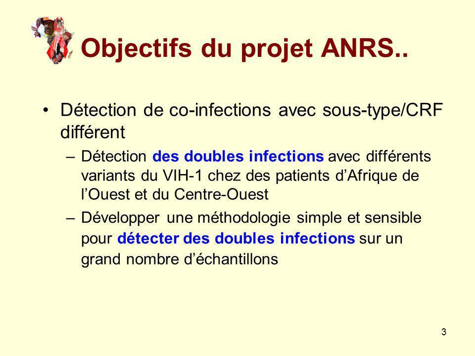 3 Objectifs du projet ANRS.. Détection de co-infections avec sous-type/CRF différent –Détection des doubles infections avec différents variants du VIH