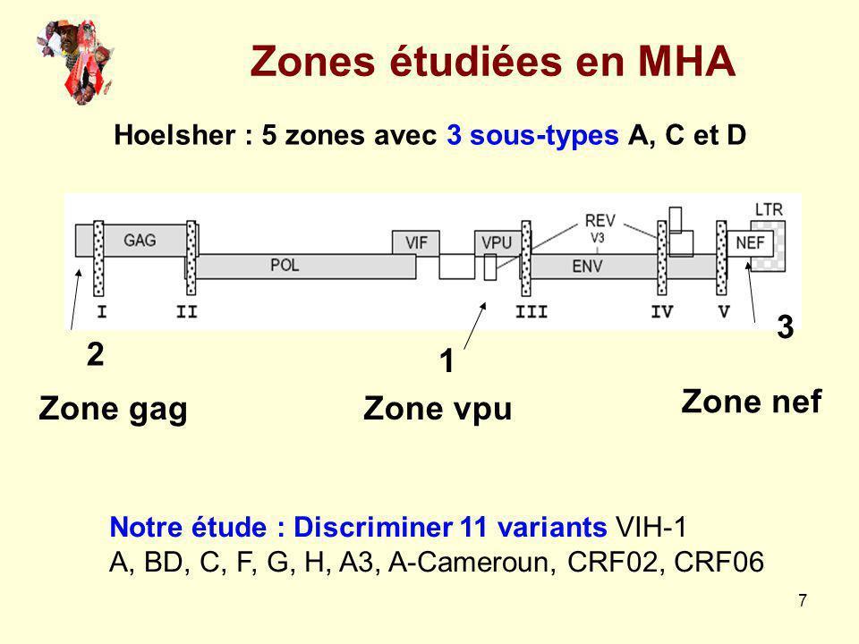 7 Zones étudiées en MHA Zone vpuZone gag Zone nef 1 2 3 Hoelsher : 5 zones avec 3 sous-types A, C et D Notre étude : Discriminer 11 variants VIH-1 A,
