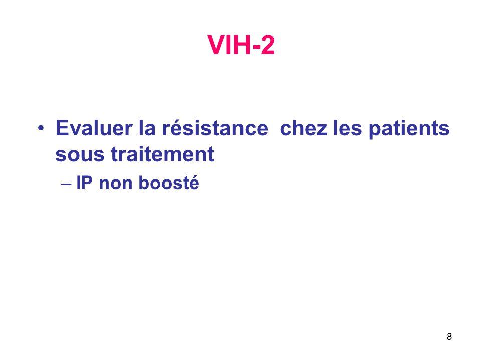 8 VIH-2 Evaluer la résistance chez les patients sous traitement –IP non boosté