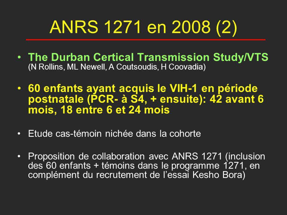 ANRS 1271 en 2008 (2) The Durban Certical Transmission Study/VTS (N Rollins, ML Newell, A Coutsoudis, H Coovadia) 60 enfants ayant acquis le VIH-1 en