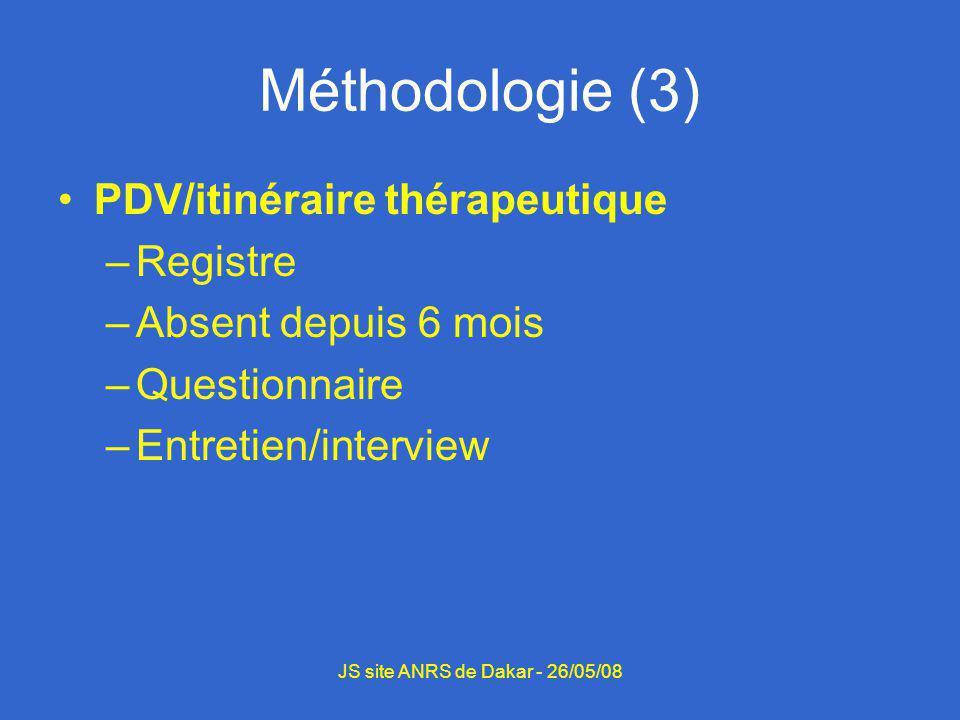 Méthodologie (3) PDV/itinéraire thérapeutique –Registre –Absent depuis 6 mois –Questionnaire –Entretien/interview JS site ANRS de Dakar - 26/05/08