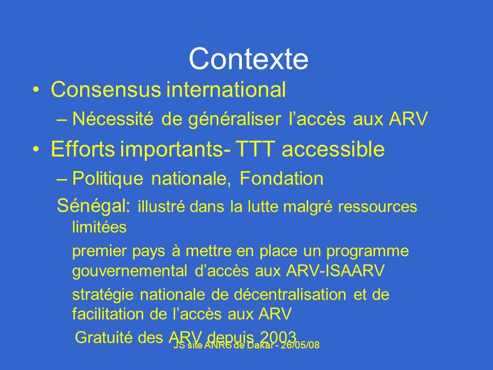 Démarche Etat des lieux/Rapports Supervision Problèmes identifiés PEC –ARV: 18,3% (240/1312) –Décès: 21% (276/1312) –PDV: 21.4% (281/1312 Gestion des données Coordination JS site ANRS de Dakar - 26/05/08