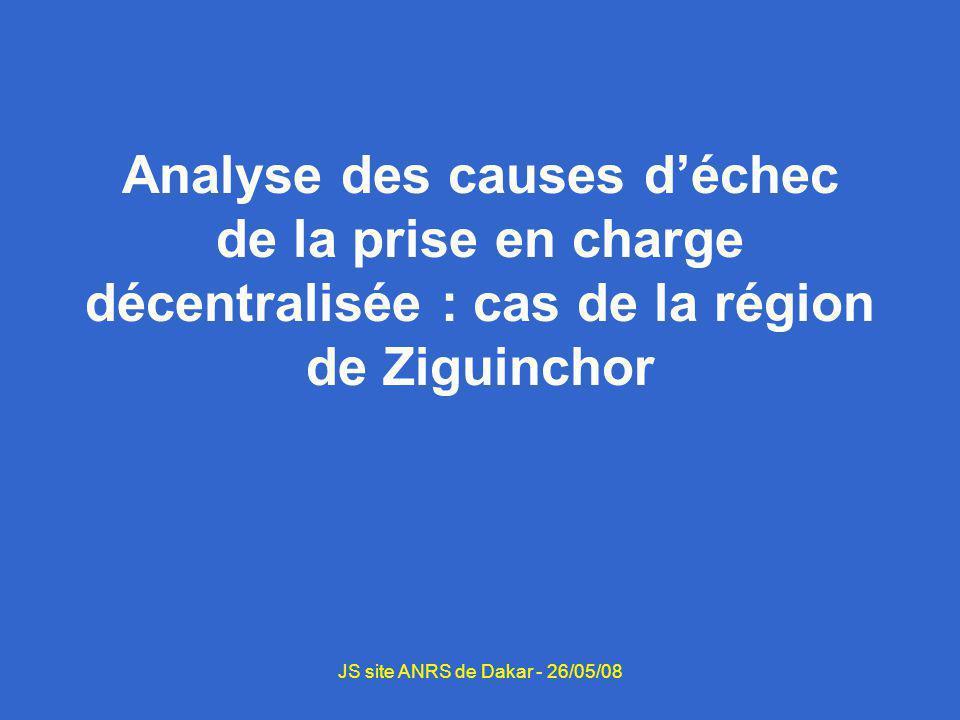 Analyse des causes déchec de la prise en charge décentralisée : cas de la région de Ziguinchor JS site ANRS de Dakar - 26/05/08