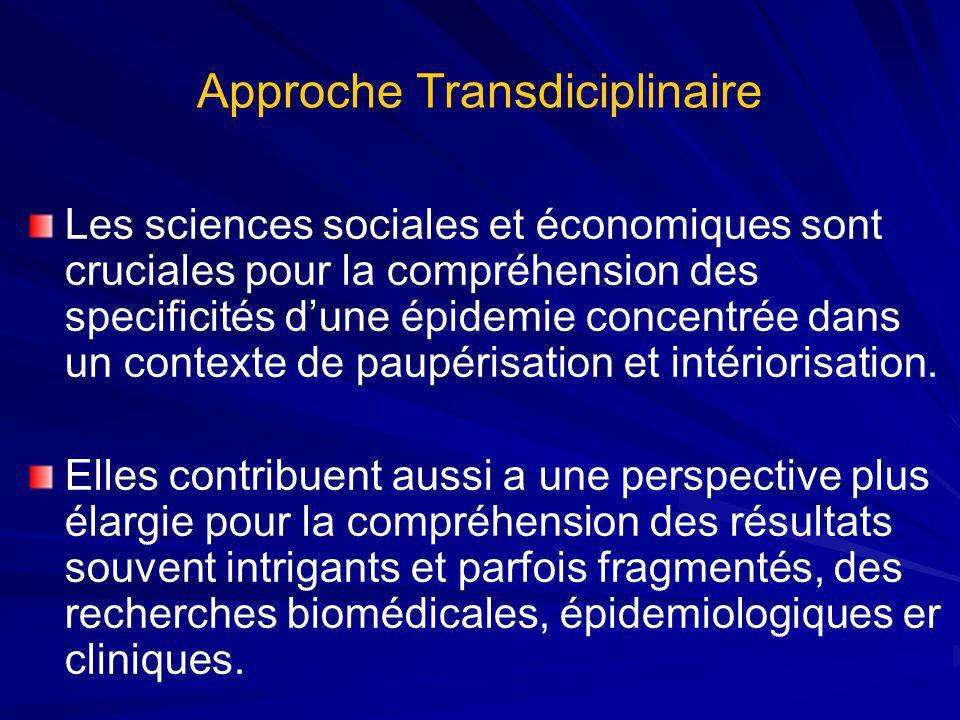 Approche Transdiciplinaire Les sciences sociales et économiques sont cruciales pour la compréhension des specificités dune épidemie concentrée dans un contexte de paupérisation et intériorisation.