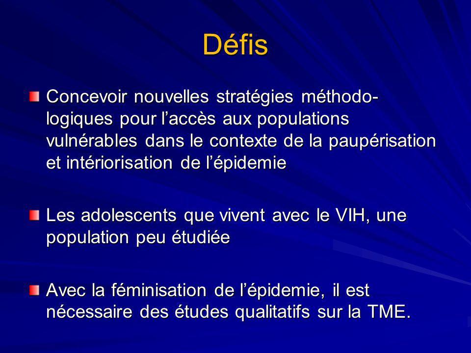Défis Concevoir nouvelles stratégies méthodo- logiques pour laccès aux populations vulnérables dans le contexte de la paupérisation et intériorisation de lépidemie Les adolescents que vivent avec le VIH, une population peu étudiée Avec la féminisation de lépidemie, il est nécessaire des études qualitatifs sur la TME.