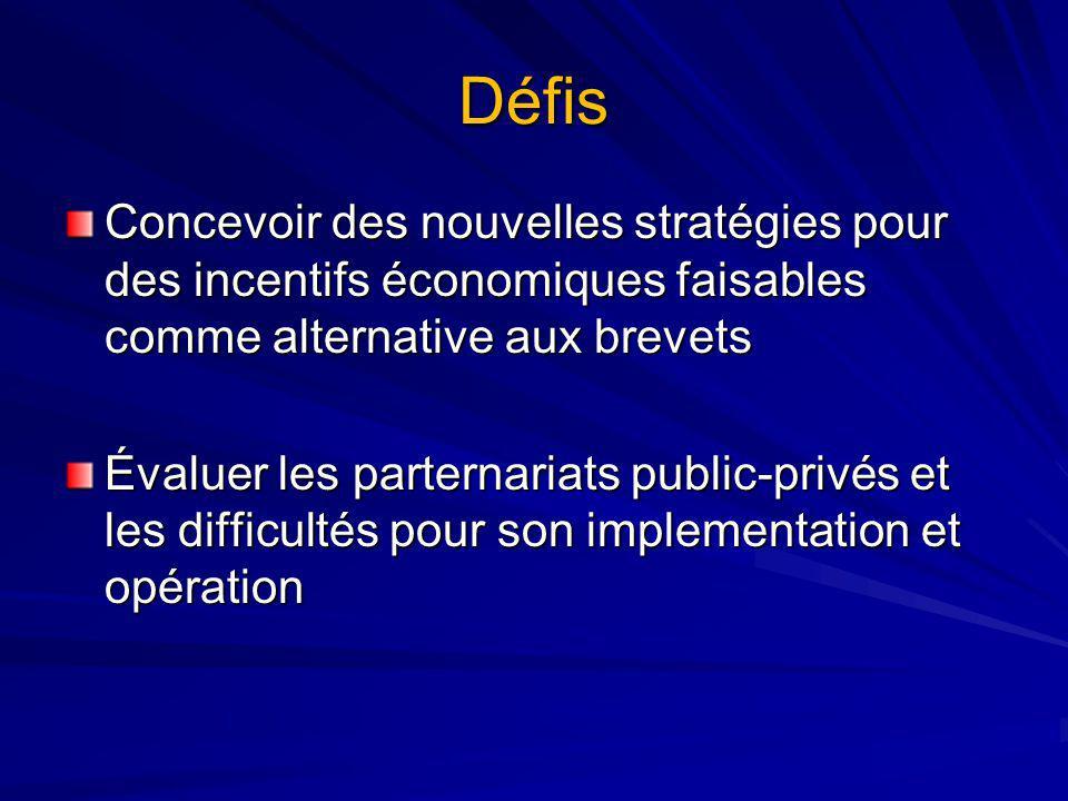 Défis Concevoir des nouvelles stratégies pour des incentifs économiques faisables comme alternative aux brevets Évaluer les parternariats public-privés et les difficultés pour son implementation et opération