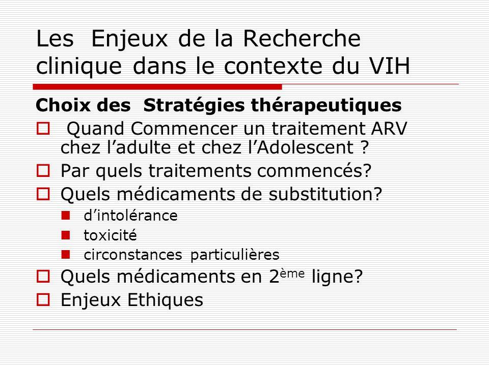 Les Enjeux de la Recherche clinique dans le contexte du VIH Choix des Stratégies thérapeutiques Quand Commencer un traitement ARV chez ladulte et chez lAdolescent .